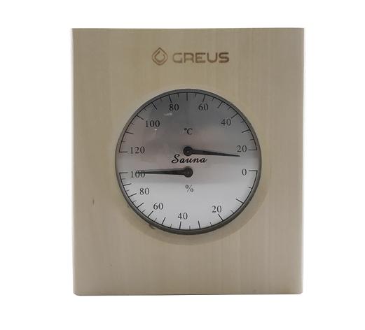 Термогигрометр Greus 16х14,5 липа для бани и сауны, фото 2