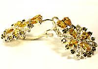 """Комплект из серебра серьги, кольцо, кулон,браслет с желто-зелеными фианитами """"Елена"""", фото 1"""