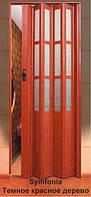 """Дверь гармошка под стекло """"Vinci Decor Simfonia"""" 860мм Темное красное дерево"""