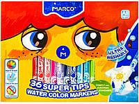 Фломастеры MARCO 36 цветов тонкие, в картонной упаковке (смываемые, антибактериальные) №1630-36