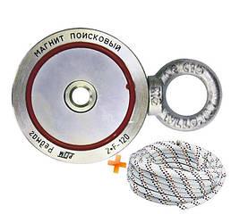 Двухсторонний поисковый неодимовый магнит F120*2, ✔140кг, ✔РЕДМАГ ♕ТРОС в подарок♕