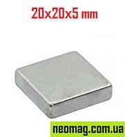 Прямоугольник магнит неодимовый 20х20х5мм , сцепление 7кг, N42