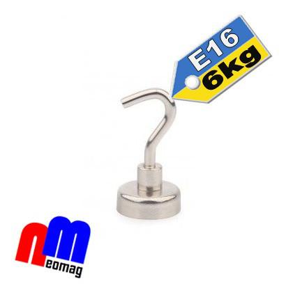 Крепежный неодимовый магнит, держатель, с крючком Е16, 6кг☀ПОЛЬША☀N42☀ГАРАНТИЯ 30лет☀