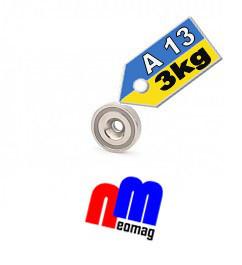 Магнит в корпусе с зенковкой под саморез (потай) A13, 3кг ✰ПОЛЬША•N42•ГАРАНТИЯ 30лет✰