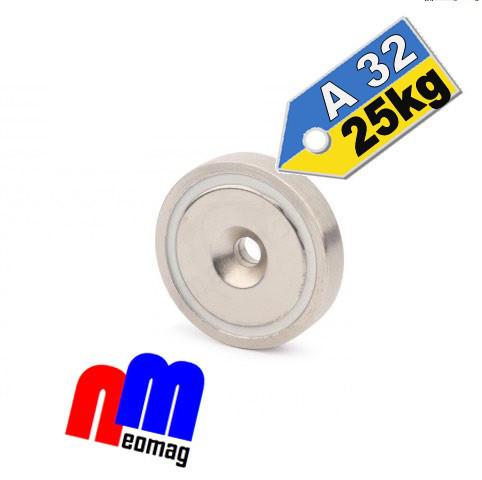 Магніт в корпусі з зенковкой під саморіз (потай) A32, 25кг ✰ПОЛЬЩА•N42•ГАРАНТІЯ 30 років✰