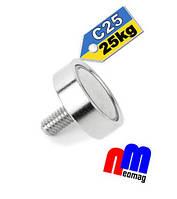 Магнит в корпусе с наружной резьбой C25, 25кг ✰ПОЛЬША•N42•ГАРАНТИЯ 30лет✰
