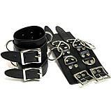 Черные кожаные широкие наручники, фото 2