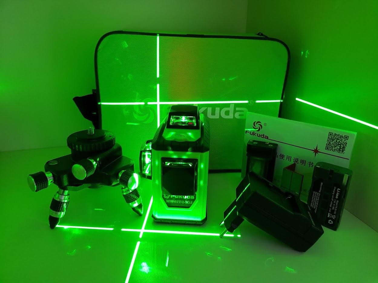 Fukuda MW 93T-2-3GJ  MAX→ лазерный нивелир с зелеными лучами №➊  ✓Li-ion ✓сенсор ✓3D
