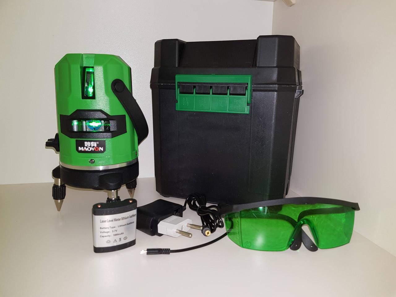 Лазерный уровень MAOVON⛳️LI-ion 6000 mAh в подарок⛳️ СУПЕРЯРКИЙ Зеленый луч☀50м☀