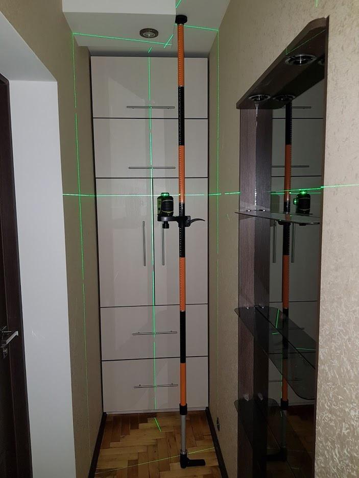 ПОСИЛЕНА Розпірна штанга стійка для лазерного рівня 3.36 м, РІЗЬБЛЕННЯ 1/4 І 5/8