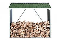 Накрытие для дров металлическое зеленый с белым, фото 1