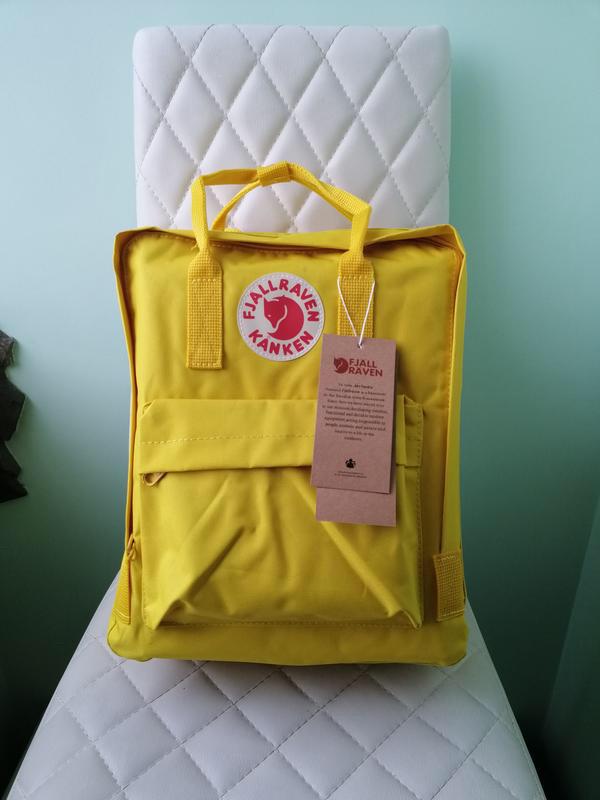 Детский рюкзак-сумка канкен желтый на девочку Fjallraven Kanken classic