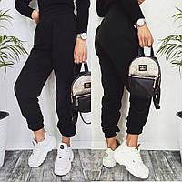 Женские спортивные штаны трехнитка на флисе черные, белые S-M, L-XL