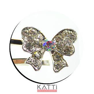 30722 невидимка KATTi серебро металл Бант с мульти стразами 5,3см 2шт, фото 2