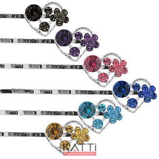 30726 невидимка KATTi серебро металл Сердечко с цветными стразами 5,3см 2шт, фото 2
