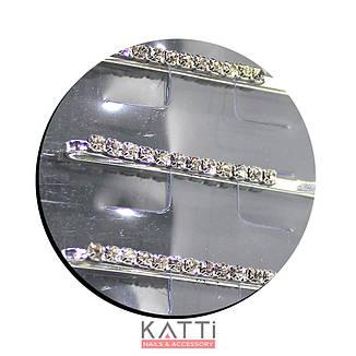 30727 невидимка KATTi серебро металл с квадратными стразами в 1 ряд 5,3см 2шт, фото 2