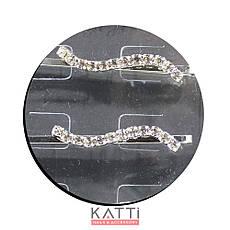 30728 невидимка KATTi серебро металл с квадратными стразами в 1 ряд 5,3см 2шт, фото 2