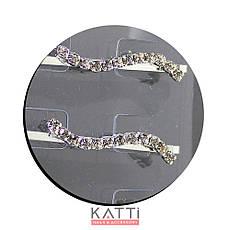 30728 невидимка KATTi серебро металл с квадратными стразами в 1 ряд 5,3см 2шт, фото 3