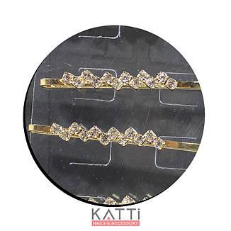 30730 невидимка KATTi золото металл с квадратными стразами в 1 ряд 5,3см 2шт, фото 2