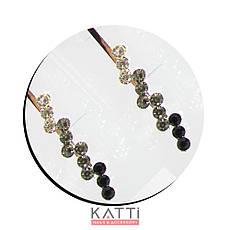 30734 невидимка KATTi серебро металл с цветными круглыми стразами 5,3см 2шт, фото 3