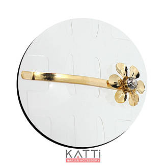 30742 невидимка KATTi золото металл 3D цветок со стразами 6см 2шт, фото 2