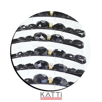 30745 невидимка KATTi черная металл со стразами и камнями 6см 2шт, фото 2