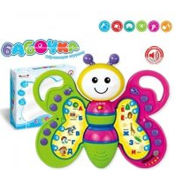 Обучающая музыкальная игрушка книжка Азбука Бабочка  ZYE-E 0054
