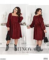 Вельветовое модное свободное платье размеры 48-58 арт 752
