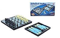 Настольная игра 3в1 шахматы, шашки, нарды на магнитах 8899 Голубые