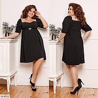 Красивое свободное платье с брошью размеры 48-58 арт 196