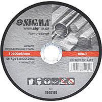 Круг отрезной по металлу и нержавеющей стали Ø150x1.6x22.2мм, 10200об/мин Sigma (1940161)