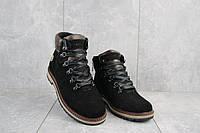 Подростковые ботинки замшевые зимние черные Yuves 783-ч-в