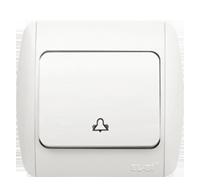 Выключатель звонка (кнопка) ABB EL-Bi ZIRVE Natural для внутреннего (скрытого) монтажа, белый, Турция