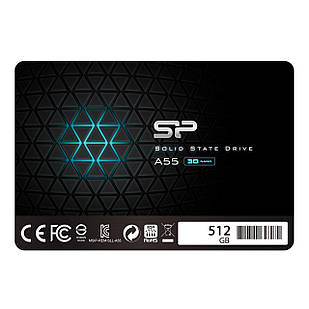 SSD накопитель Silicon Power A55 512GB 2.5 SATAIII TLC SP512GBSS3A55S25 (F00175780)