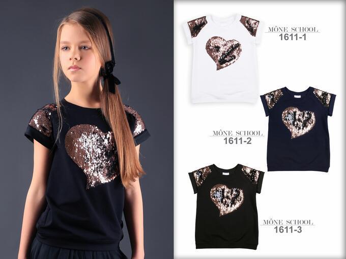 Школьная блузка с сердцем (синяя)  тм МОНЕ р-ры 140