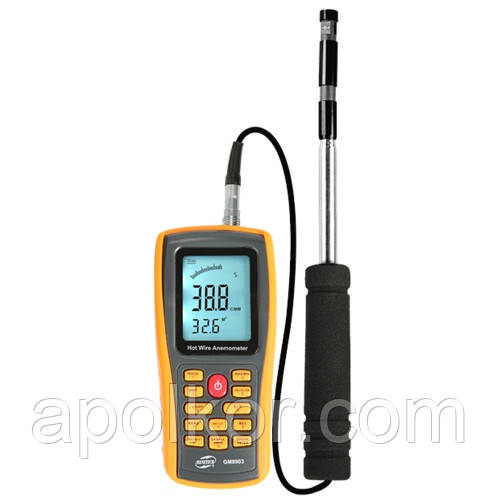 Анемометр USB, 0,3-30м/с, 0-45°C  BENETECH GM8903