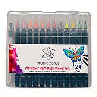 Фломастеры-маркеры акварельные двухсторонние IG с кистью и тонким наконечником 24 цвета + 2 кисти для воды (S-0001)