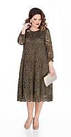Платье TEZA-304 белорусский трикотаж, хаки, 50