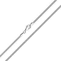 Серебряная родированная цепочка Портленд в разреженом граненом плетении мягкий снейк, 1 мм 000025923 50 размер