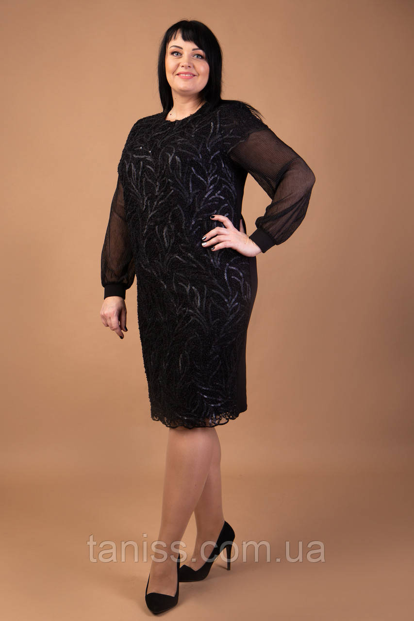 """Нарядное, деловое платье """"Хелин"""",большого размера,ткань креп дайвинг,гипюр,р. 54,56  черное,сукня"""