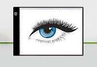 Световой планшет для рисования / копирования A4 + линейка (Световая доска с линейкой и LED подсветкой)