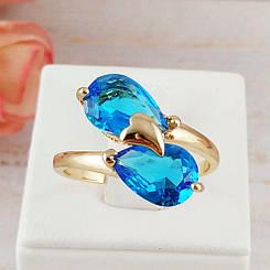 Кольцо Xuping Jewelry размер 18 Берта аквамарин медицинское золото позолота 18К А/В 4842