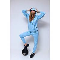 Спортивный женский костюм на флисе, голубой (топовое качество) Украина
