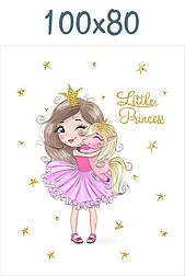 """Панелька из сатина для детского пледа """"Принцесса с единорогом на руках"""" 80*100 см"""