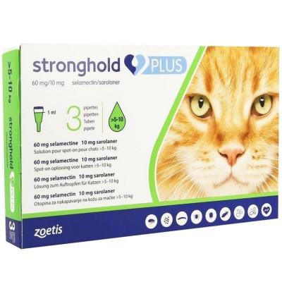 STRONGHOLD PLUS СТРОНГХОЛД ПЛЮС для кошек весом от 5 до 10 кг капли на холку от блох и клещей , 1 пипетка