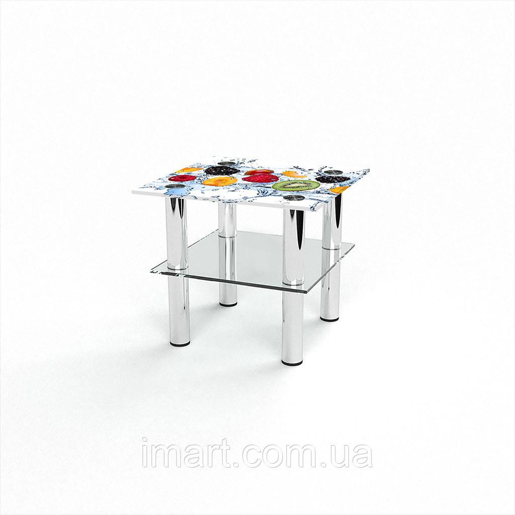 Журнальный стол квадратный с полкой Berry Mix стеклянный
