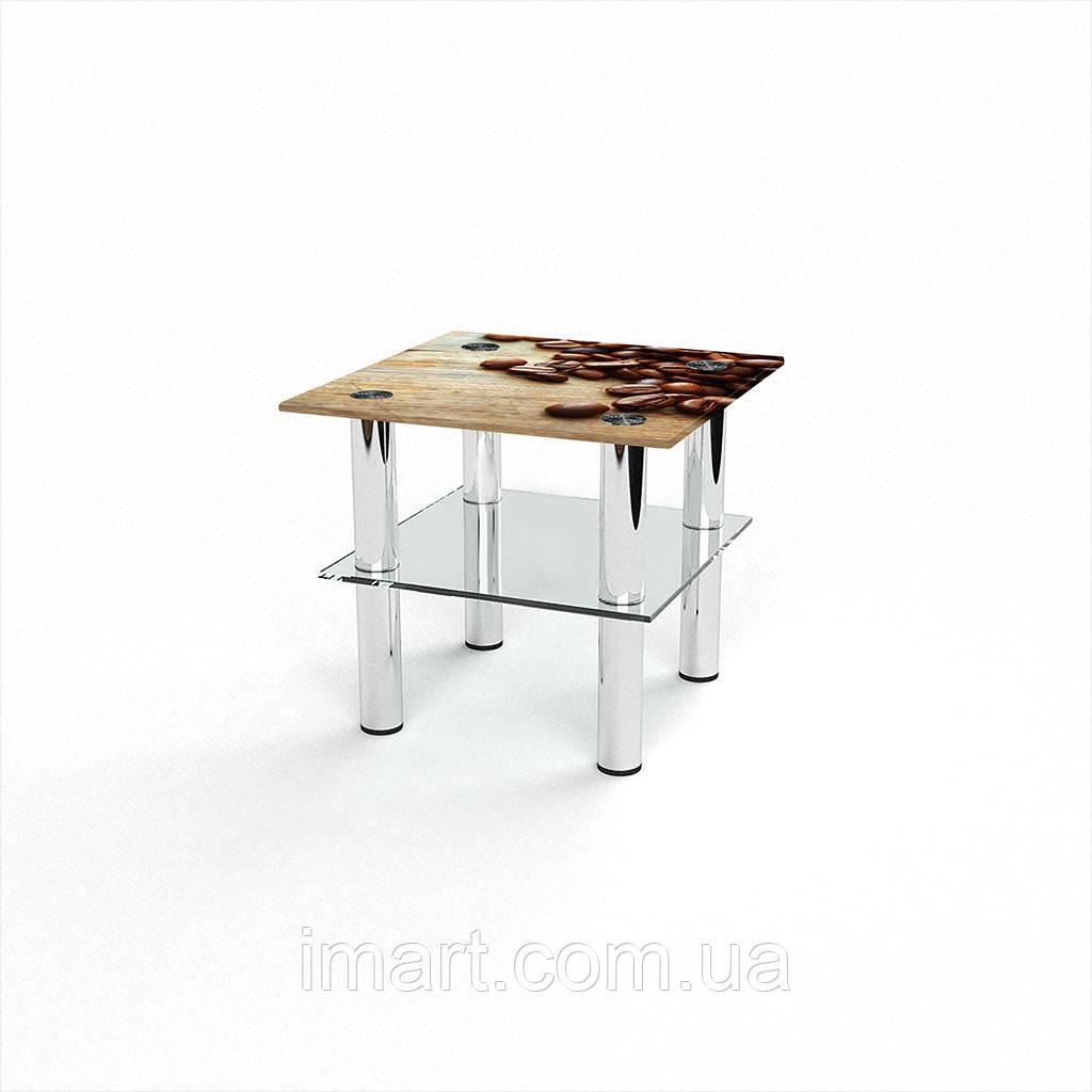 Журнальный стол квадратный с полкой Coffee стеклянный