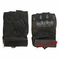 Перчатки тактические беспалые Oakley (черные) Текстиль - кожа, M, Черный