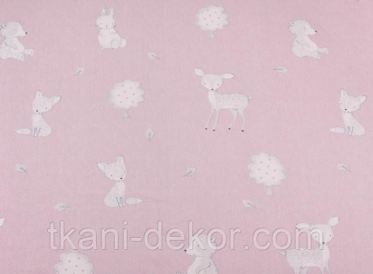 Сатин (хлопковая ткань) на мокко лесные звери (80*140)