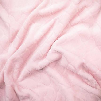 "Ткань махра велсофт розовая  design ""чешуя"", фото 2"